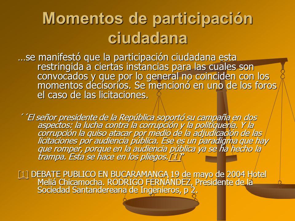 Momentos de participación ciudadana …se manifestó que la participación ciudadana esta restringida a ciertas instancias para las cuales son convocados