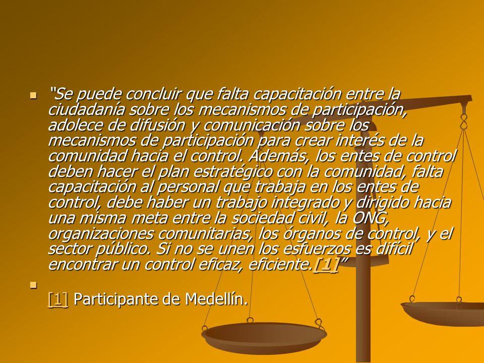 Se puede concluir que falta capacitación entre la ciudadanía sobre los mecanismos de participación, adolece de difusión y comunicación sobre los mecan