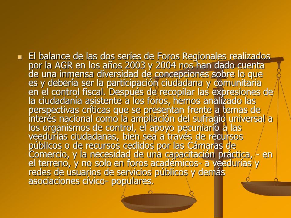 El balance de las dos series de Foros Regionales realizados por la AGR en los años 2003 y 2004 nos han dado cuenta de una inmensa diversidad de concep