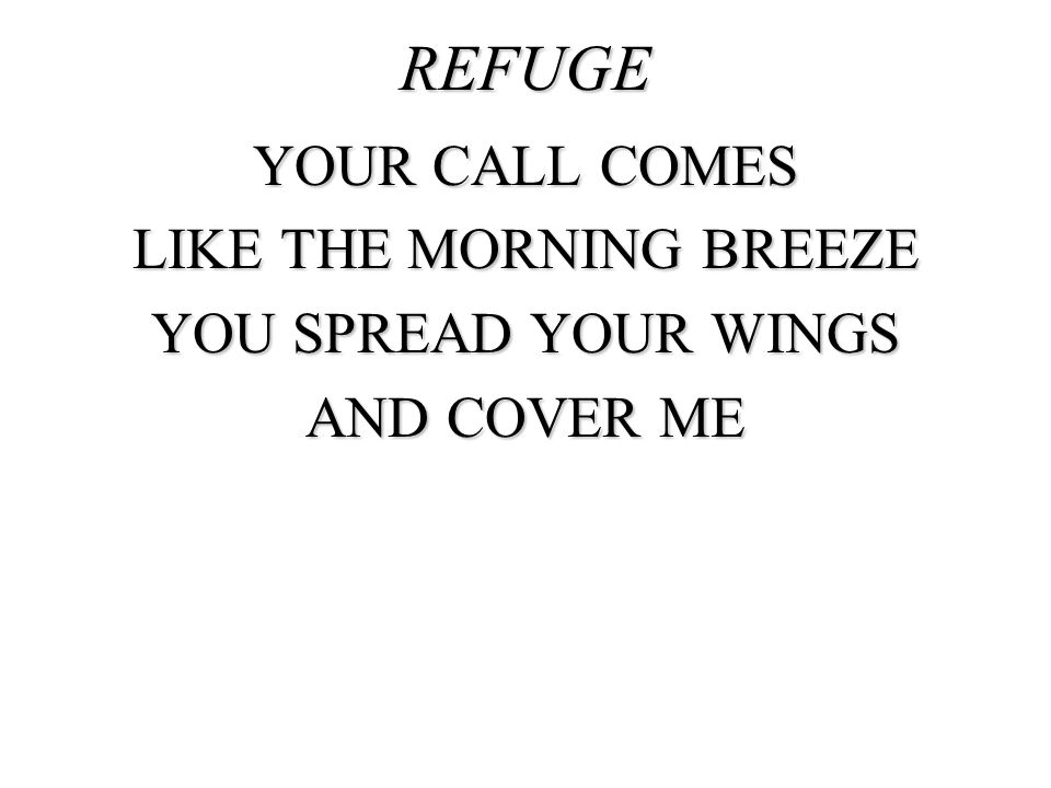 REFUGE YOUR CALL COMES LIKE THE MORNING BREEZE YOU SPREAD YOUR WINGS AND COVER ME
