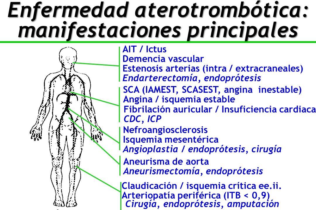 AIT / Ictus Demencia vascular Aneurisma de aorta Aneurismectomía, endoprótesis Estenosis arterias (intra / extracraneales) Endarterectomía, endoprótesis SCA (IAMEST, SCASEST, angina inestable) Angina / isquemia estable Fibrilación auricular / Insuficiencia cardiaca CDC, ICP Nefroangiosclerosis Isquemia mesentérica Angioplastia / endoprótesis, cirugía Claudicación / isquemia crítica ee.ii.
