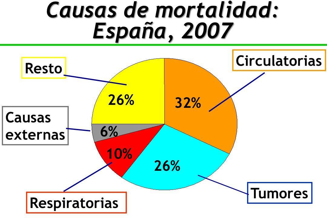 Circulatorias Tumores Respiratorias Causas externas Resto 32% 26% 10% 6% 26% Causas de mortalidad: España, 2007