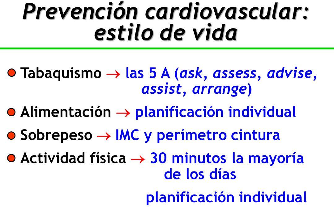 Tabaquismo las 5 A (ask, assess, advise, assist, arrange) Alimentación planificación individual Sobrepeso IMC y perímetro cintura Actividad física 30 minutos la mayoría de los días planificación individual Prevención cardiovascular: estilo de vida