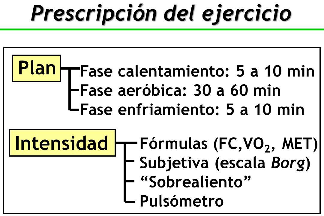 Plan Fase calentamiento: 5 a 10 min Fase aeróbica: 30 a 60 min Fase enfriamiento: 5 a 10 min Intensidad Fórmulas (FC,VO 2, MET) Subjetiva (escala Borg) Sobrealiento Pulsómetro Prescripción del ejercicio