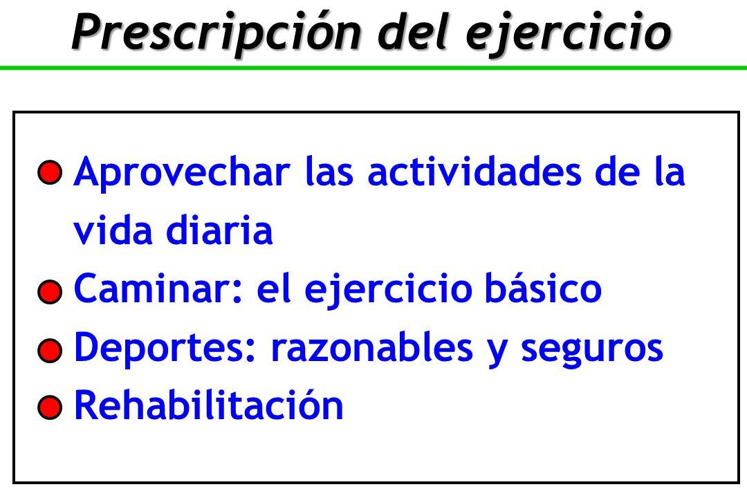 Aprovechar las actividades de la vida diaria Caminar: el ejercicio básico Deportes: razonables y seguros Rehabilitación Prescripción del ejercicio