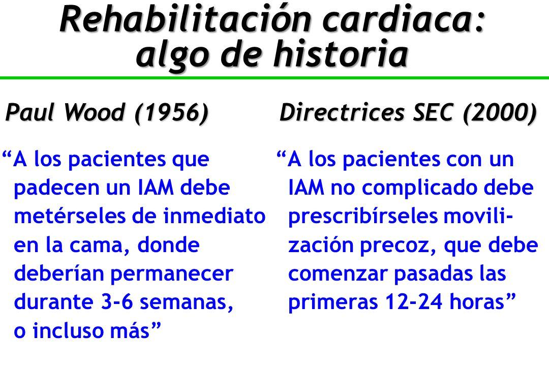 A los pacientes queA los pacientes con un padecen un IAM debe IAM no complicado debe metérseles de inmediato prescribírseles movili- en la cama, donde zación precoz, que debe deberían permanecer comenzar pasadas las durante 3-6 semanas, primeras 12-24 horas o incluso más Paul Wood (1956)Directrices SEC (2000) Rehabilitación cardiaca: algo de historia