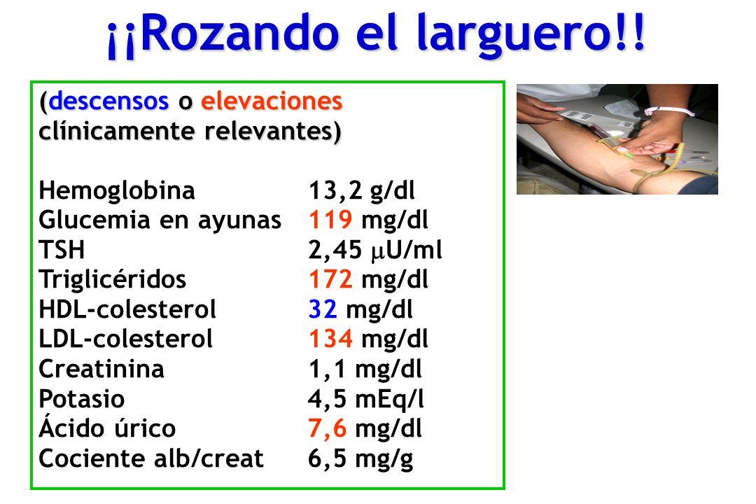 (descensos o elevaciones clínicamente relevantes) Hemoglobina13,2 g/dl Glucemia en ayunas119 mg/dl TSH2,45 U/ml Triglicéridos172 mg/dl HDL-colesterol32 mg/dl LDL-colesterol134 mg/dl Creatinina1,1 mg/dl Potasio4,5 mEq/l Ácido úrico7,6 mg/dl Cociente alb/creat6,5 mg/g ¡¡Rozando el larguero!!