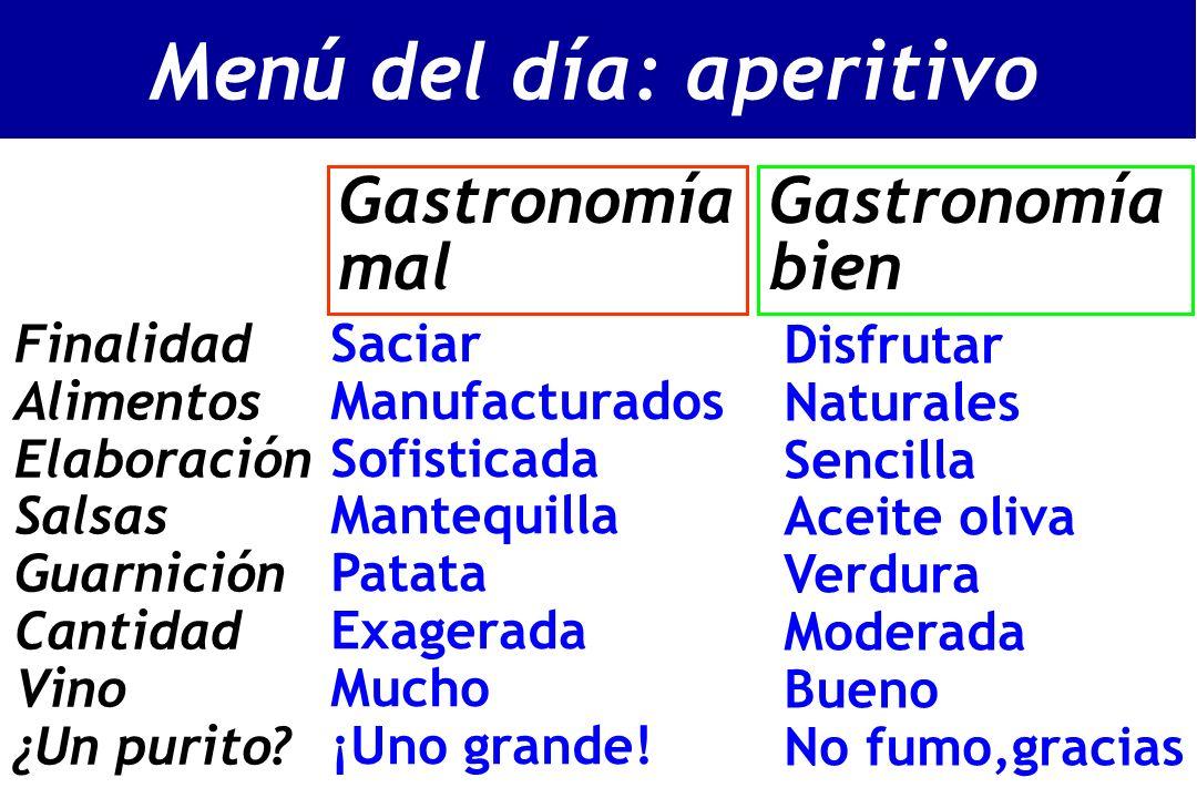 Gastronomía mal Gastronomía bien Saciar Manufacturados Sofisticada Mantequilla Patata Exagerada Mucho ¡Uno grande.