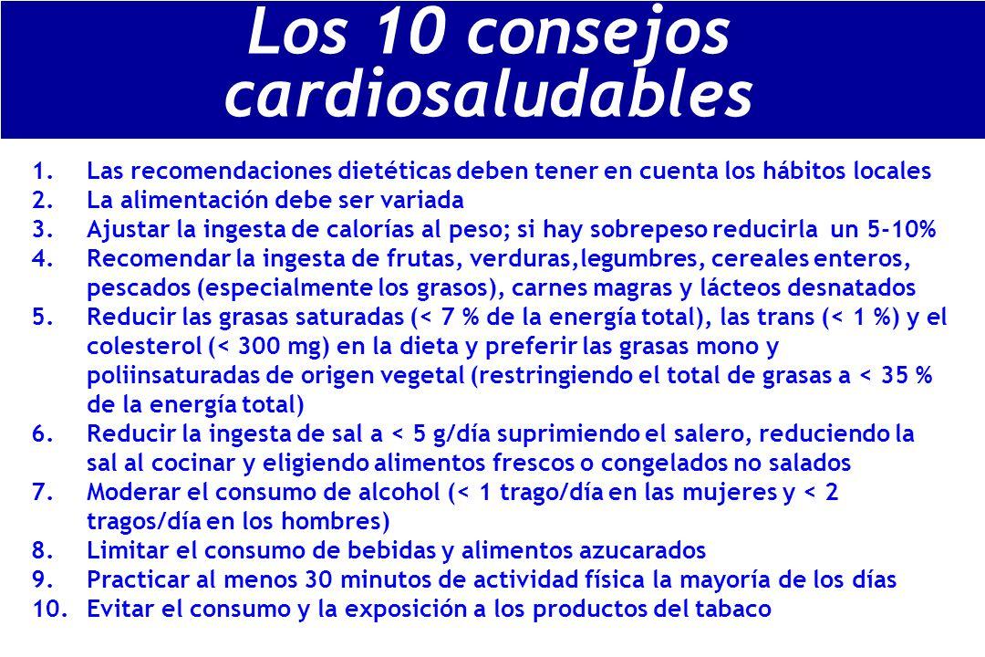 1.Las recomendaciones dietéticas deben tener en cuenta los hábitos locales 2.La alimentación debe ser variada 3.Ajustar la ingesta de calorías al peso; si hay sobrepeso reducirla un 5-10% 4.Recomendar la ingesta de frutas, verduras,legumbres, cereales enteros, pescados (especialmente los grasos), carnes magras y lácteos desnatados 5.Reducir las grasas saturadas (< 7 % de la energía total), las trans (< 1 %) y el colesterol (< 300 mg) en la dieta y preferir las grasas mono y poliinsaturadas de origen vegetal (restringiendo el total de grasas a < 35 % de la energía total) 6.Reducir la ingesta de sal a < 5 g/día suprimiendo el salero, reduciendo la sal al cocinar y eligiendo alimentos frescos o congelados no salados 7.Moderar el consumo de alcohol (< 1 trago/día en las mujeres y < 2 tragos/día en los hombres) 8.Limitar el consumo de bebidas y alimentos azucarados 9.Practicar al menos 30 minutos de actividad física la mayoría de los días 10.Evitar el consumo y la exposición a los productos del tabaco Los 10 consejos cardiosaludables