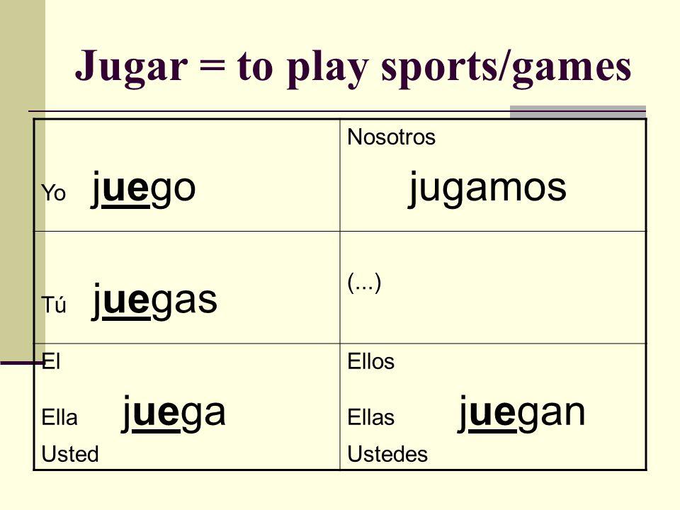 Jugar = to play sports/games Yo juego Nosotros jugamos Tú juegas (...) El Ella juega Usted Ellos Ellas juegan Ustedes