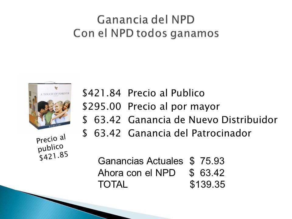 Tus nuevos distribuidores compran directamente de la compañía al NPD con un 15% de descuento del precio de venta al publico. Ahora tu como patrocinado