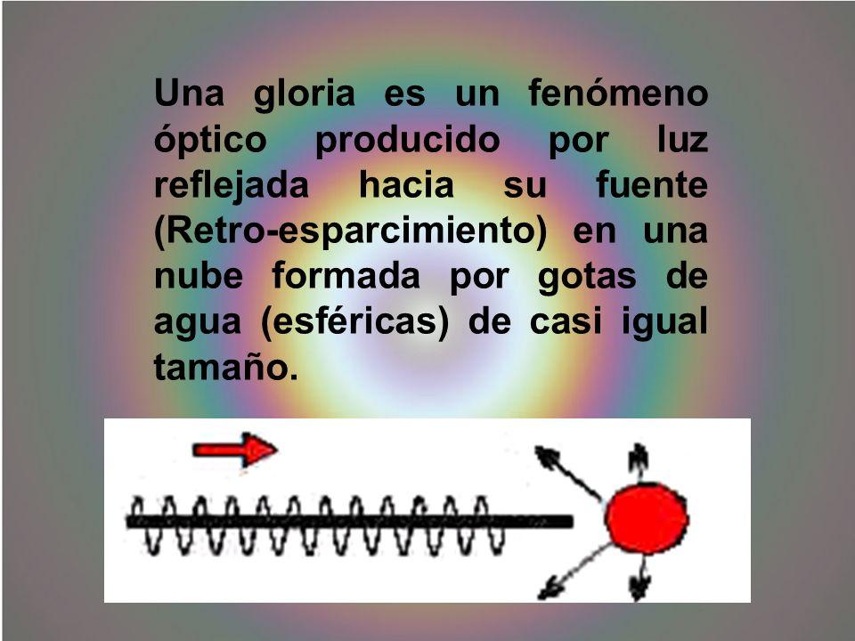 Una gloria es un fenómeno óptico producido por luz reflejada hacia su fuente (Retro-esparcimiento) en una nube formada por gotas de agua (esféricas) d