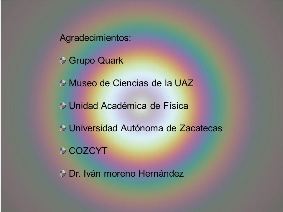 Agradecimientos: Grupo Quark Museo de Ciencias de la UAZ Unidad Académica de Física Universidad Autónoma de Zacatecas COZCYT Dr. Iván moreno Hernández