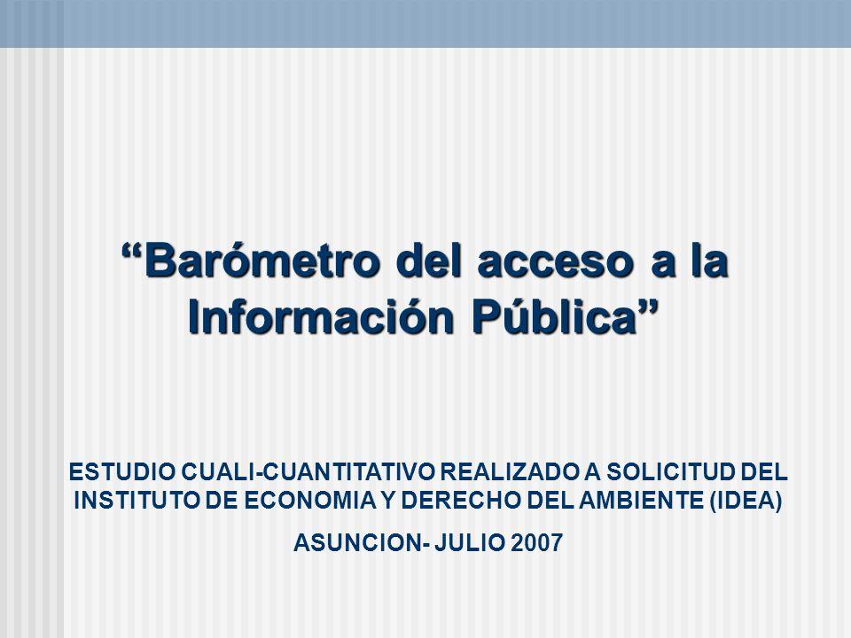 Barómetro del acceso a la Información Pública ESTUDIO CUALI-CUANTITATIVO REALIZADO A SOLICITUD DEL INSTITUTO DE ECONOMIA Y DERECHO DEL AMBIENTE (IDEA)