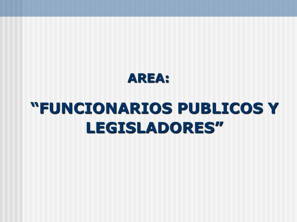 FUNCIONARIOS PUBLICOS Y LEGISLADORESFUNCIONARIOS PUBLICOS Y LEGISLADORES AREA: