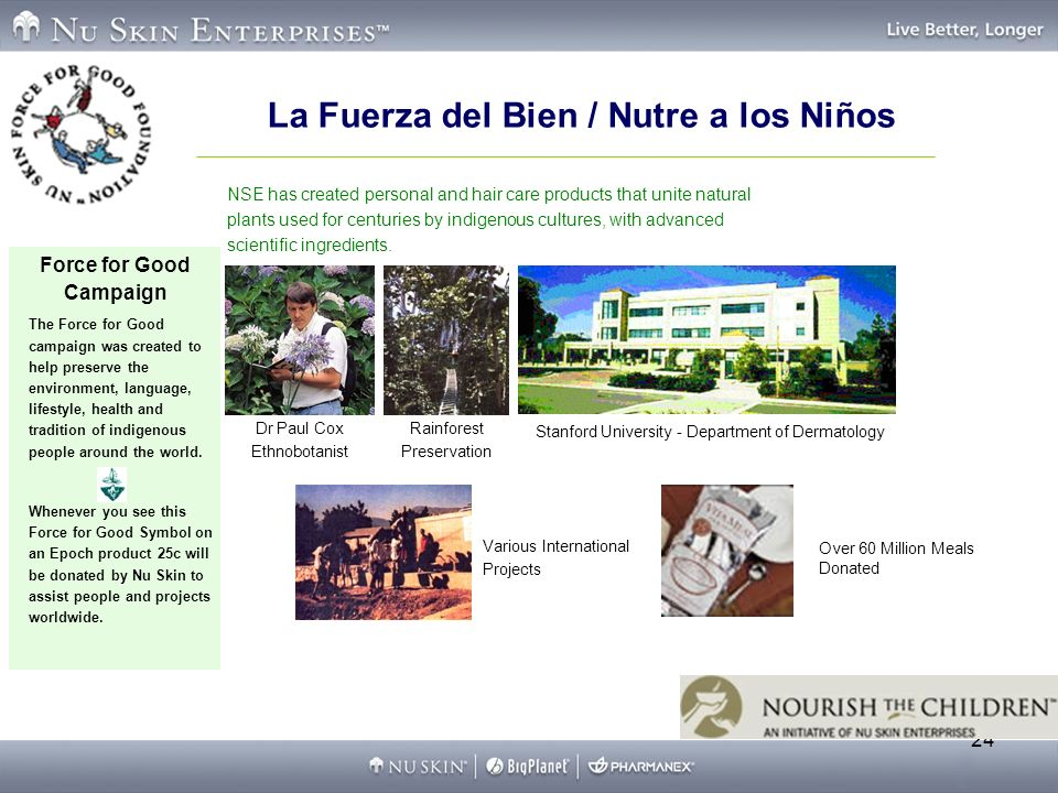 24 La Fuerza del Bien / Nutre a los Niños Force for Good Campaign The Force for Good campaign was created to help preserve the environment, language, lifestyle, health and tradition of indigenous people around the world.