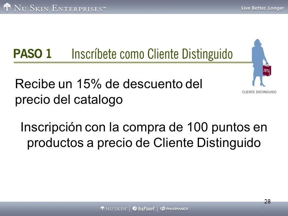 28 Inscripción con la compra de 100 puntos en productos a precio de Cliente Distinguido Recibe un 15% de descuento del precio del catalogo