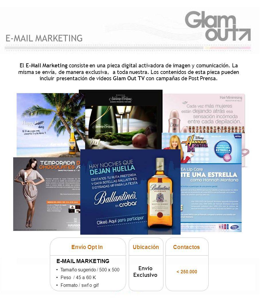 El E-Mail Marketing consiste en una pieza digital activadora de imagen y comunicación. La misma se envía, de manera exclusiva, a toda nuestra. Los con
