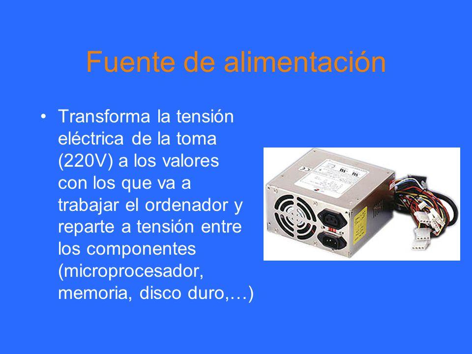 Fuente de alimentación Transforma la tensión eléctrica de la toma (220V) a los valores con los que va a trabajar el ordenador y reparte a tensión entr
