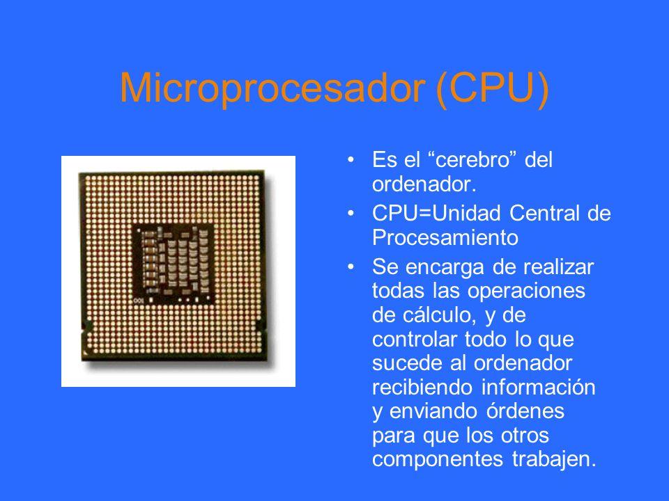 Microprocesador (CPU) Es el cerebro del ordenador. CPU=Unidad Central de Procesamiento Se encarga de realizar todas las operaciones de cálculo, y de c