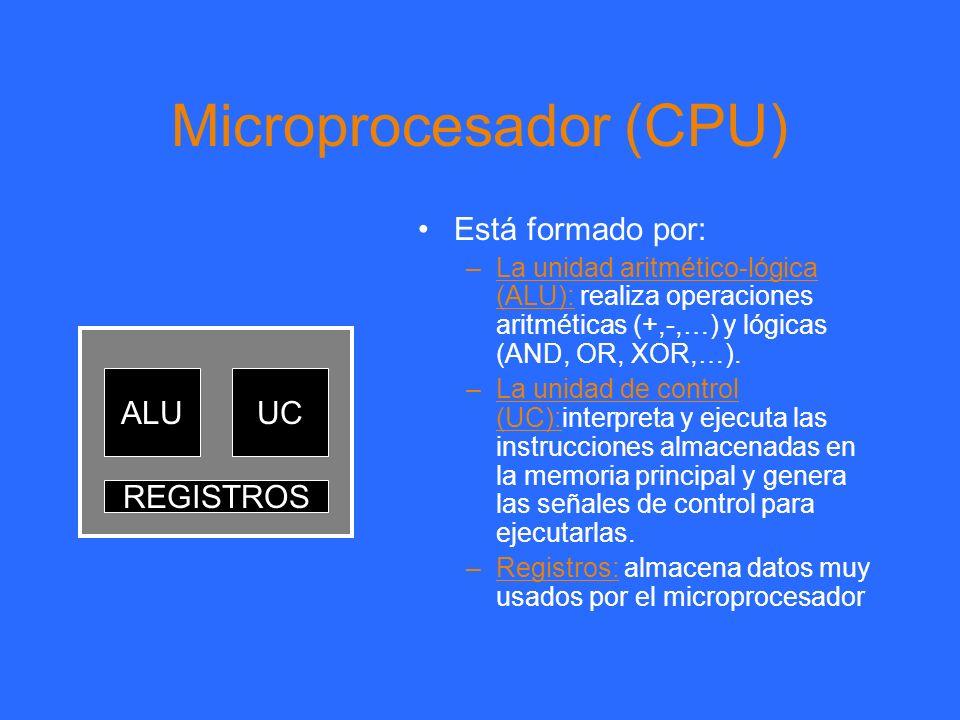 Microprocesador (CPU) Está formado por: –La unidad aritmético-lógica (ALU): realiza operaciones aritméticas (+,-,…) y lógicas (AND, OR, XOR,…). –La un