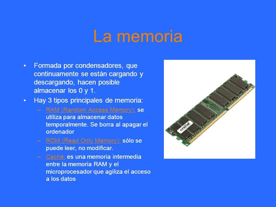 La memoria Formada por condensadores, que continuamente se están cargando y descargando, hacen posible almacenar los 0 y 1. Hay 3 tipos principales de