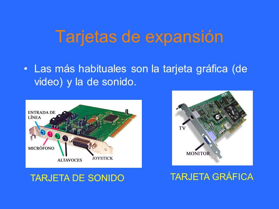 Tarjetas de expansión Las más habituales son la tarjeta gráfica (de video) y la de sonido. TARJETA DE SONIDO TARJETA GRÁFICA