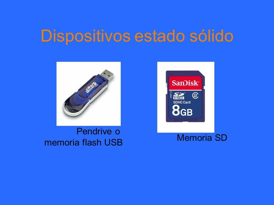 Dispositivos estado sólido Pendrive o memoria flash USB Memoria SD