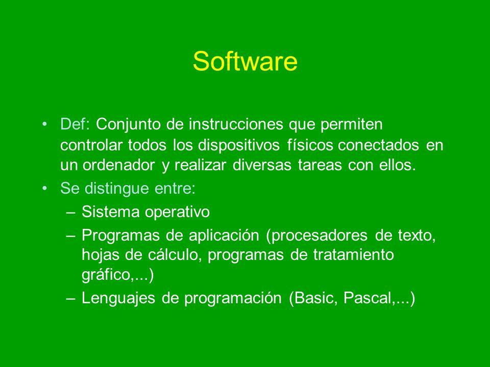 Software Def: Conjunto de instrucciones que permiten controlar todos los dispositivos físicos conectados en un ordenador y realizar diversas tareas co