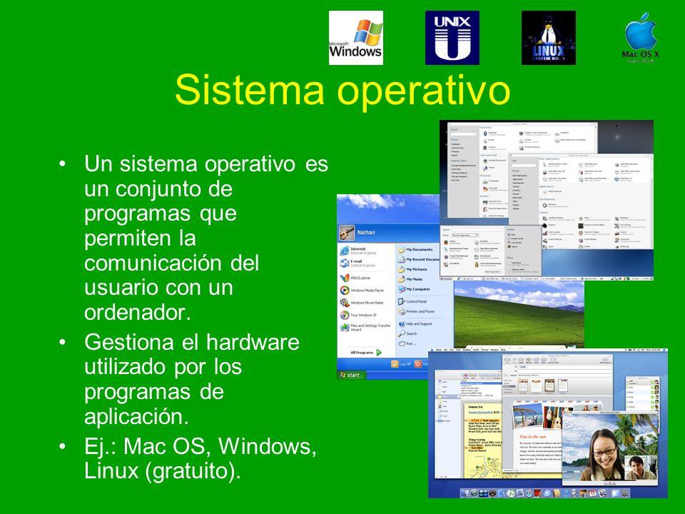 Sistema operativo Un sistema operativo es un conjunto de programas que permiten la comunicación del usuario con un ordenador. Gestiona el hardware uti