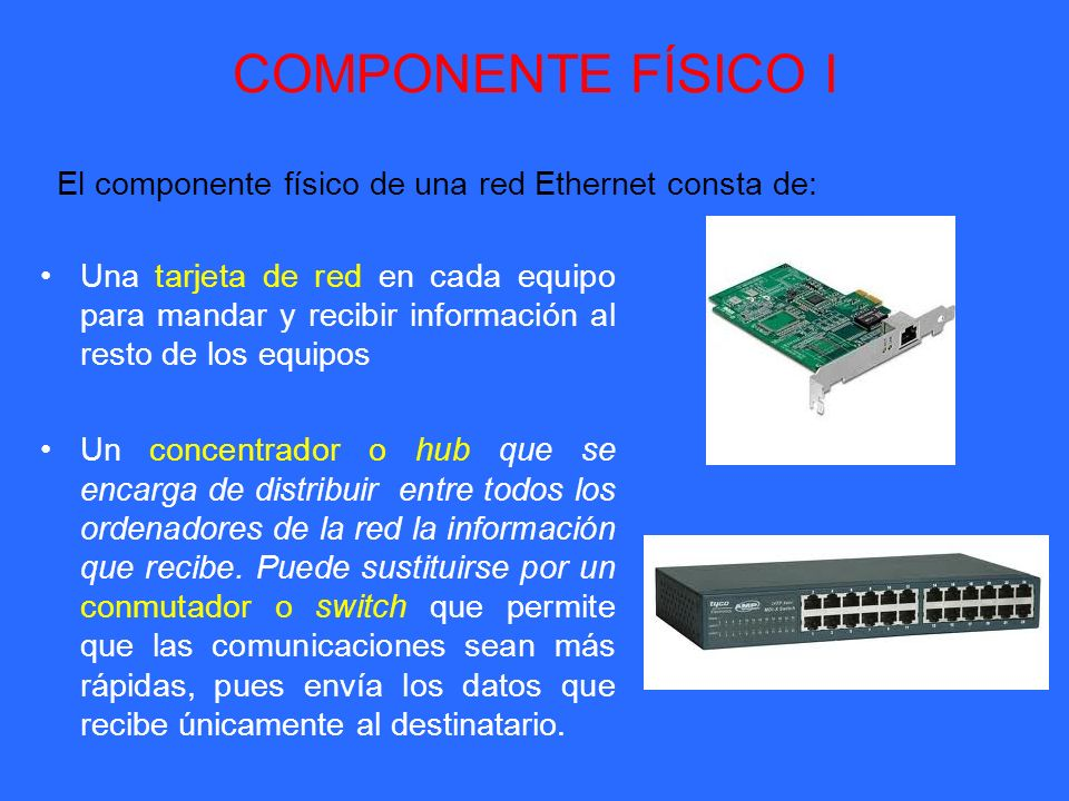 COMPONENTE FÍSICO I Una tarjeta de red en cada equipo para mandar y recibir información al resto de los equipos Un concentrador o hub que se encarga d