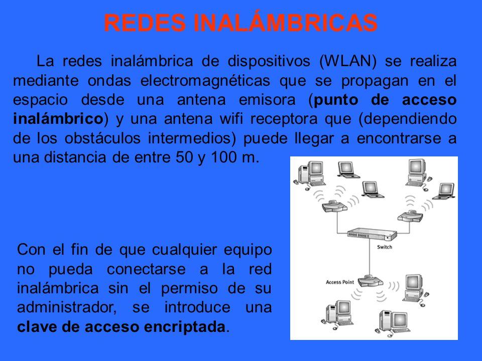 REDES INALÁMBRICAS La redes inalámbrica de dispositivos (WLAN) se realiza mediante ondas electromagnéticas que se propagan en el espacio desde una ant