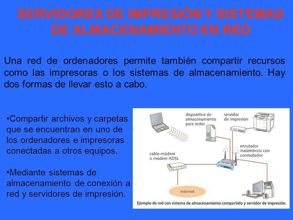 SERVIDORES DE IMPRESIÓN Y SISTEMAS DE ALMACENAMIENTO EN RED Una red de ordenadores permite también compartir recursos como las impresoras o los sistem