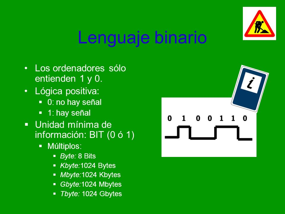 Lenguaje binario Los ordenadores sólo entienden 1 y 0. Lógica positiva: 0: no hay señal 1: hay señal Unidad mínima de información: BIT (0 ó 1) Múltipl
