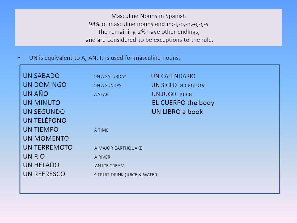 Sustantivos masculinos que terminan en –l Masculine nouns that end in -l In Spanish we use el before a masculine noun.