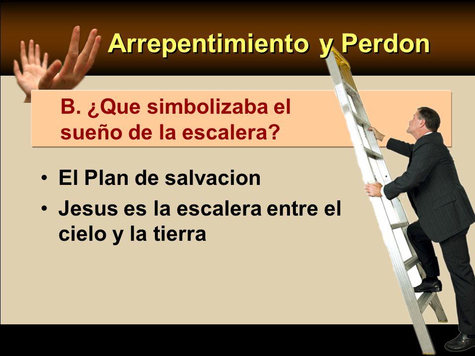 El Plan de salvacion Jesus es la escalera entre el cielo y la tierra B. ¿Que simbolizaba el sueño de la escalera? Arrepentimiento y Perdon