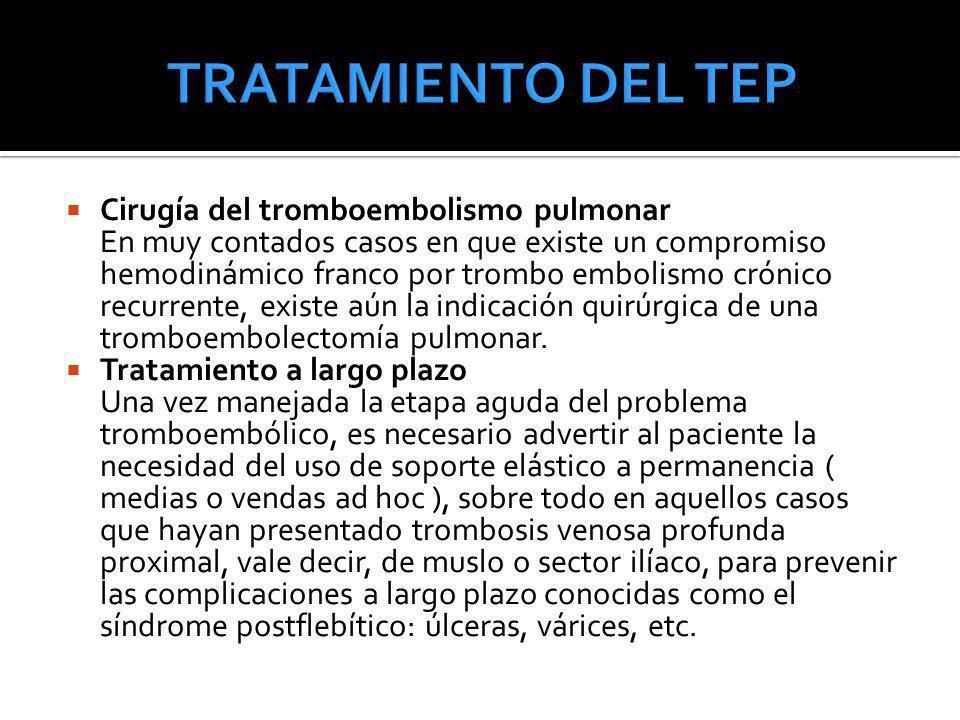 Cirugía del tromboembolismo pulmonar En muy contados casos en que existe un compromiso hemodinámico franco por trombo embolismo crónico recurrente, ex