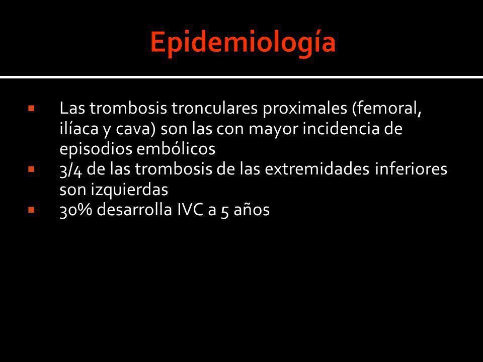 Las trombosis tronculares proximales (femoral, ilíaca y cava) son las con mayor incidencia de episodios embólicos 3/4 de las trombosis de las extremid