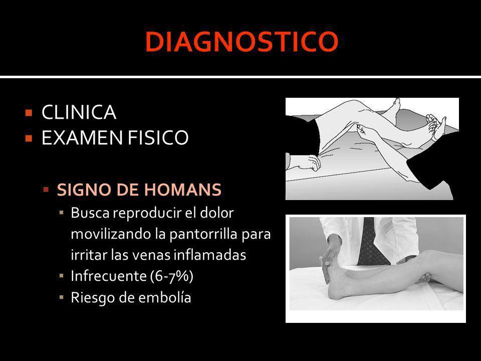 CLINICA EXAMEN FISICO SIGNO DE HOMANS Busca reproducir el dol0r movilizando la pantorrilla para irritar las venas inflamadas Infrecuente (6-7%) Riesgo