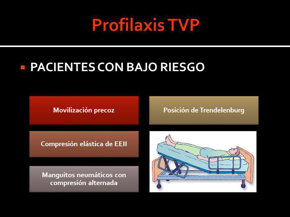 PACIENTES CON BAJO RIESGO Movilización precozPosición de Trendelenburg Compresión elástica de EEII Manguitos neumáticos con compresión alternada