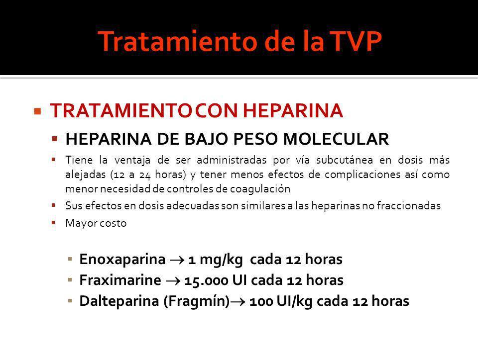TRATAMIENTO CON HEPARINA HEPARINA DE BAJO PESO MOLECULAR Tiene la ventaja de ser administradas por vía subcutánea en dosis más alejadas (12 a 24 horas