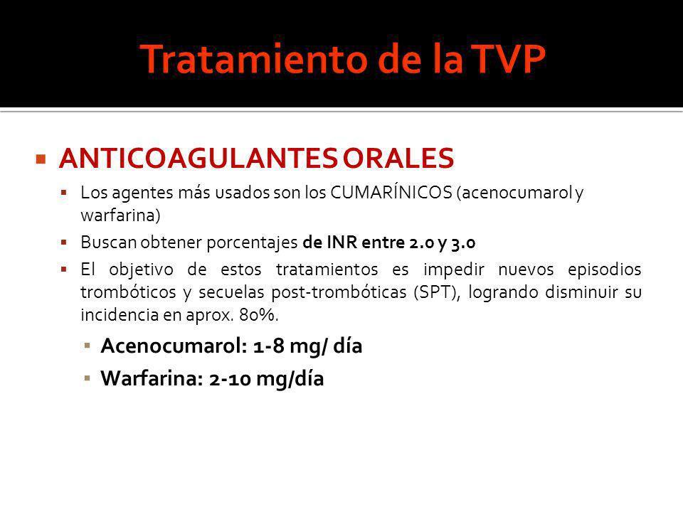 ANTICOAGULANTES ORALES Los agentes más usados son los CUMARÍNICOS (acenocumarol y warfarina) Buscan obtener porcentajes de INR entre 2.0 y 3.0 El obje