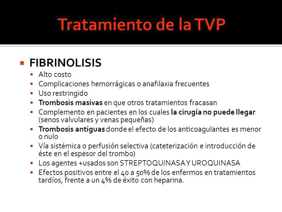 FIBRINOLISIS Alto costo Complicaciones hemorrágicas o anafilaxia frecuentes Uso restringido Trombosis masivas en que otros tratamientos fracasan Compl