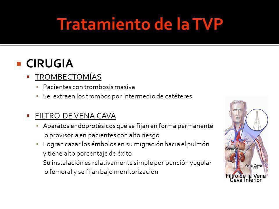 CIRUGIA TROMBECTOMÍAS Pacientes con trombosis masiva Se extraen los trombos por intermedio de catéteres FILTRO DE VENA CAVA Aparatos endoprotésicos qu