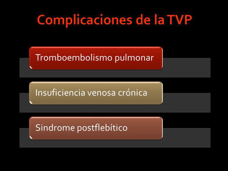 Tromboembolismo pulmonarInsuficiencia venosa crónicaSindrome postflebítico