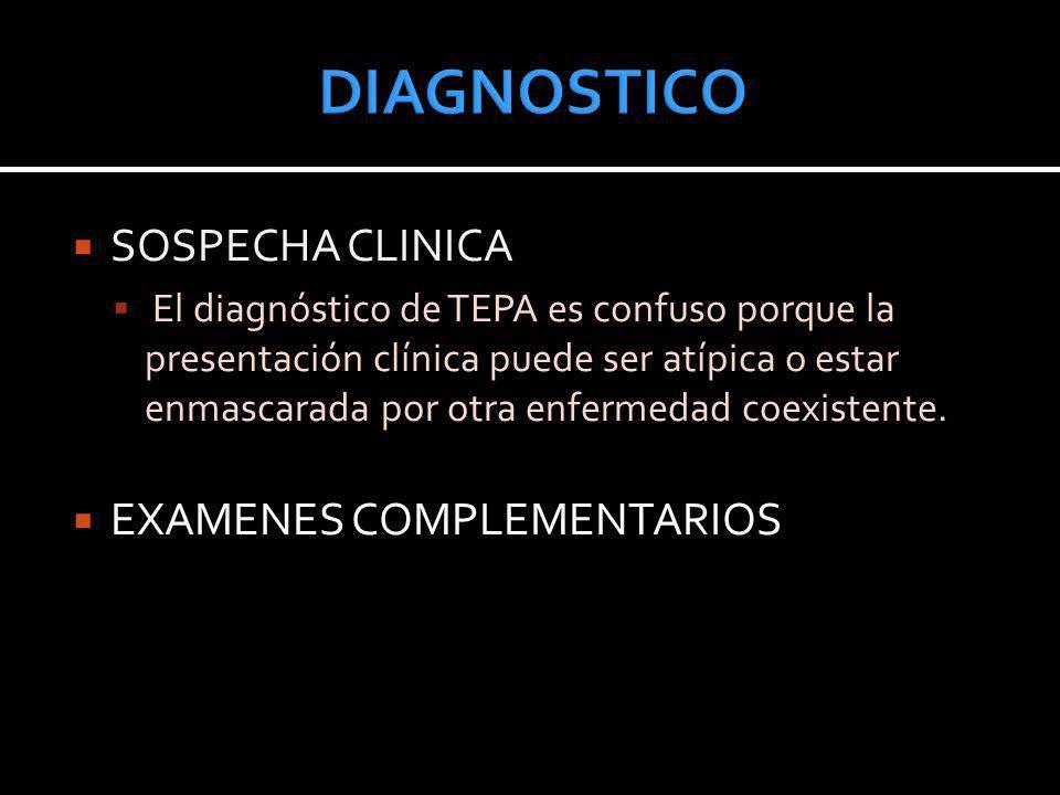 SOSPECHA CLINICA El diagnóstico de TEPA es confuso porque la presentación clínica puede ser atípica o estar enmascarada por otra enfermedad coexistent