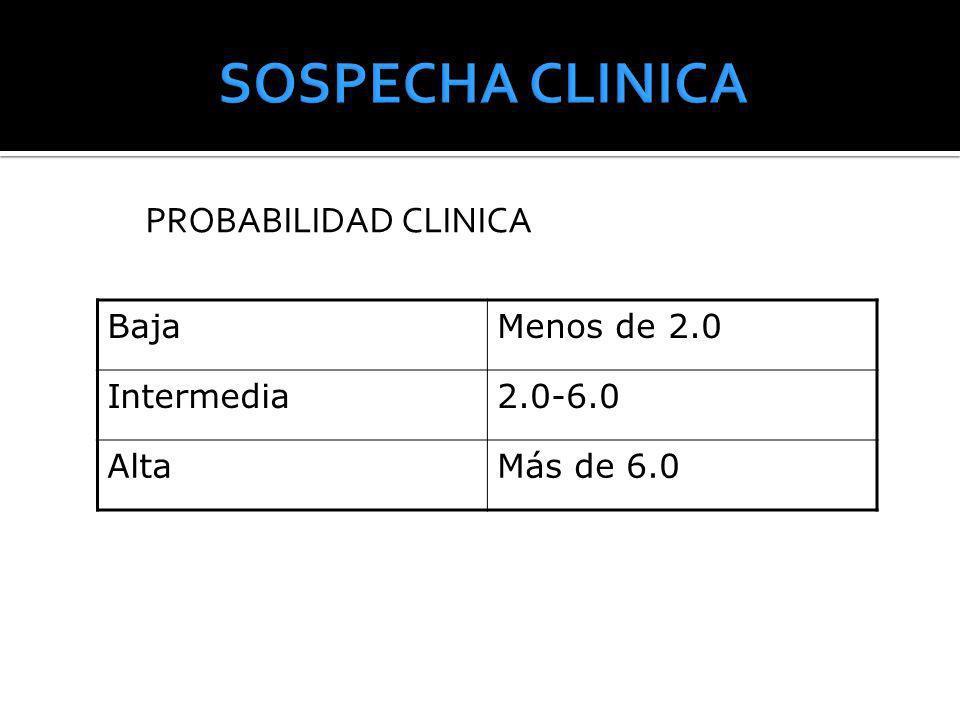 PROBABILIDAD CLINICA BajaMenos de 2.0 Intermedia2.0-6.0 AltaMás de 6.0