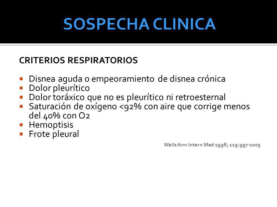 CRITERIOS RESPIRATORIOS Disnea aguda o empeoramiento de disnea crónica Dolor pleurítico Dolor toráxico que no es pleurítico ni retroesternal Saturació