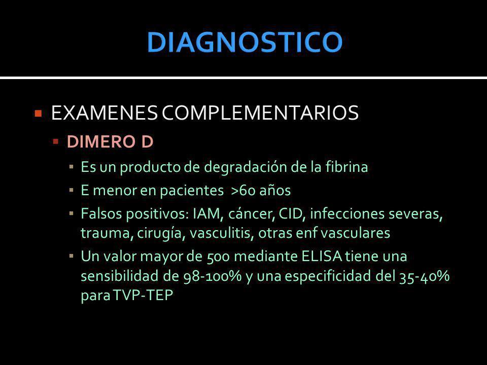 EXAMENES COMPLEMENTARIOS DIMERO D Es un producto de degradación de la fibrina E menor en pacientes >60 años Falsos positivos: IAM, cáncer, CID, infecc