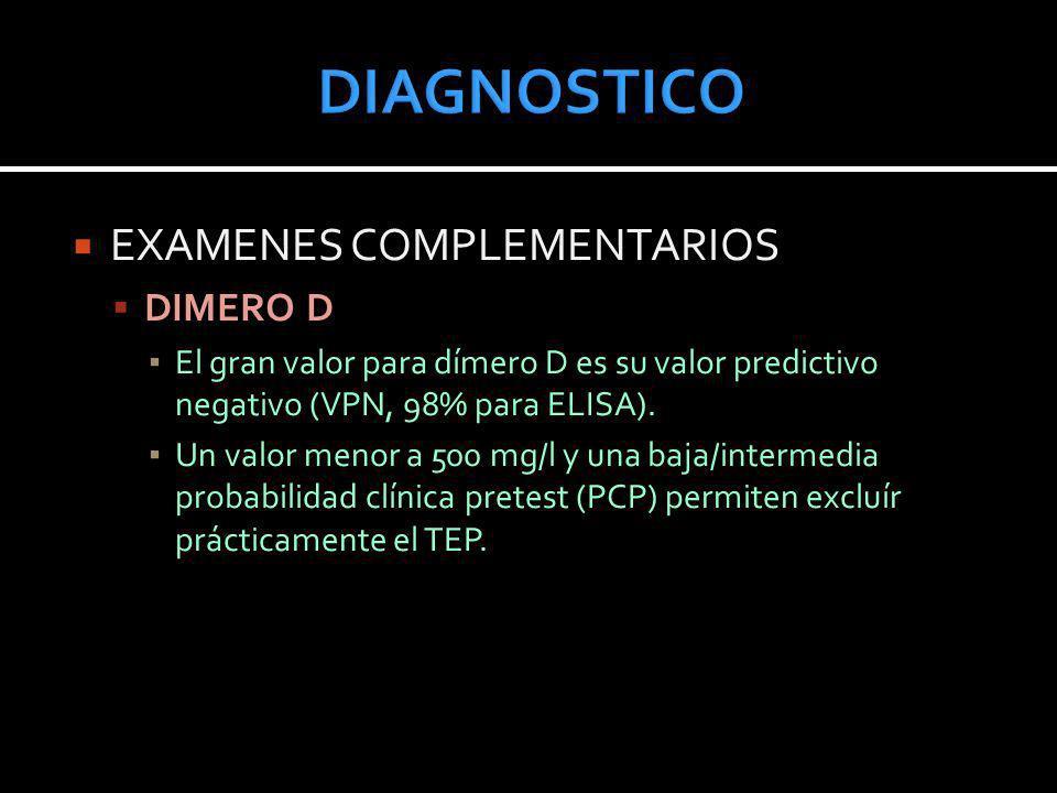 EXAMENES COMPLEMENTARIOS DIMERO D El gran valor para dímero D es su valor predictivo negativo (VPN, 98% para ELISA). Un valor menor a 500 mg/l y una b